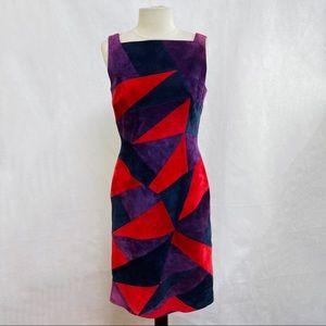 ESCADA Vintage Color Block Purple Suede Dress 6